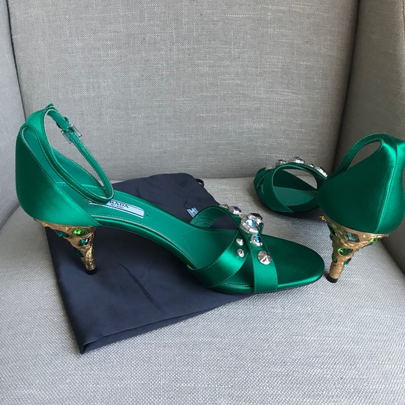 5ed426de956 New Prada Jeweled Satin Ankle Strap Sandals, Sz 39 NWT